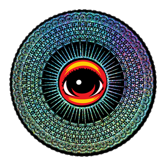 "Eyez Mandala 4"" vinyl rainbow metallic prismatic sticker"