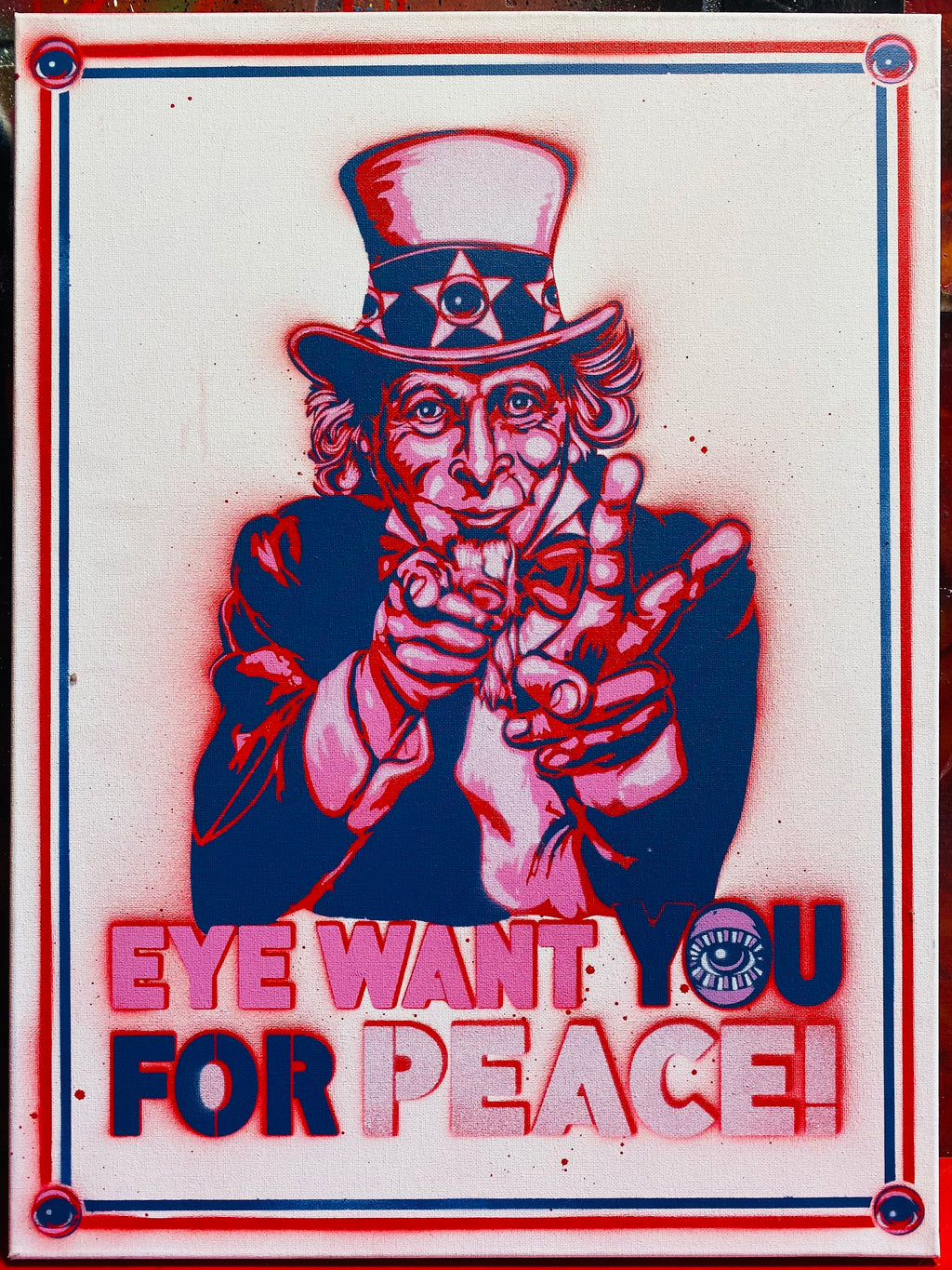 Eye want YOU for Peace 18x24 painting