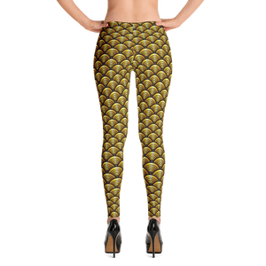 Scalloped Eyez Gold - Leggings