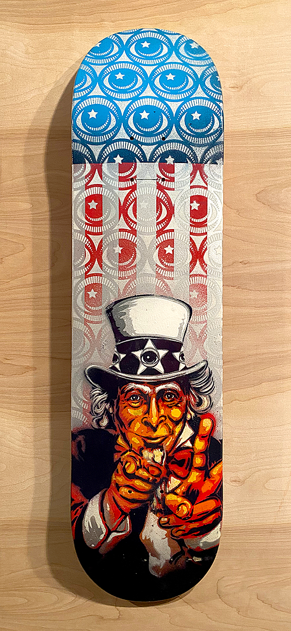 EYE want you for Peace Painted Skate Deck