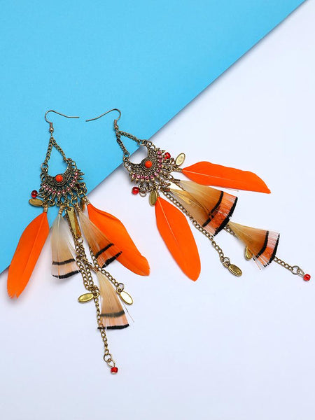 Feather Long Tassel Bohemian Jewelry Earrings - DadHats2ow6ix