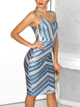Colorful Striped Thin Strap Sequin Dress - DadHats2ow6ix