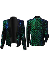 Sequins Embellished Splicing Open Front Jacket - DadHats2ow6ix