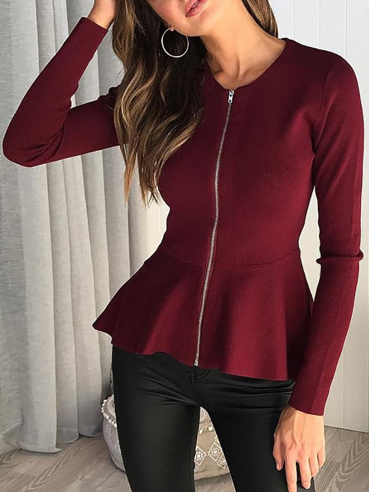 Solid Zipper Up Peplum Long Sleeve Top - DadHats2ow6ix