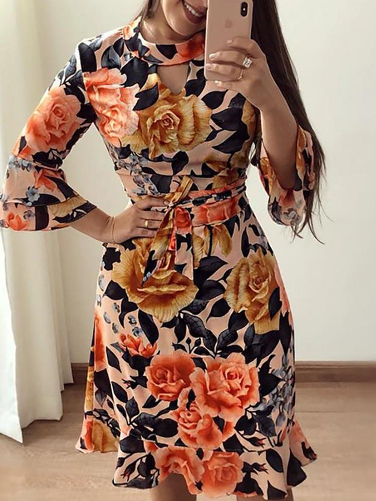 Floral Print Cutout Ruffles Flared Sleeve Casual Dress - DadHats2ow6ix