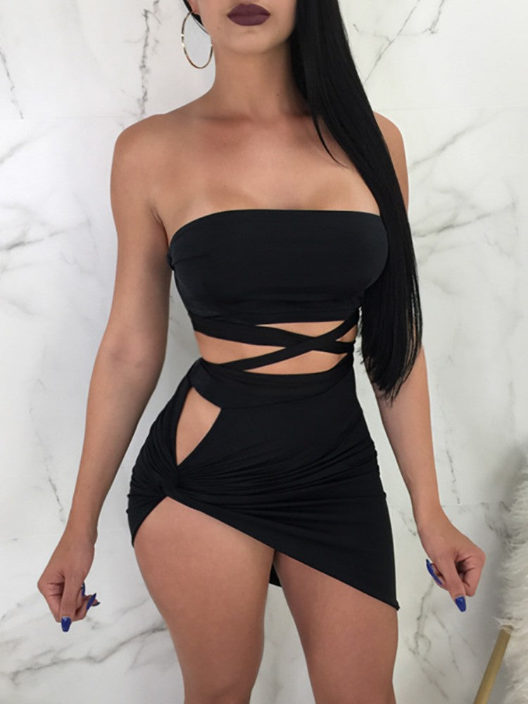 Sexy Bandage Crop Top & Split Twisted Skirt Set - DadHats2ow6ix
