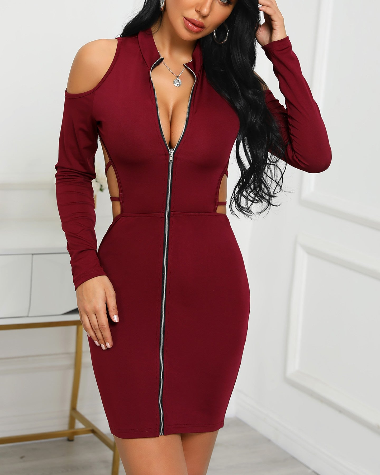 Lace-Up Back Zipper Design Bodycon Dress - DadHats2ow6ix