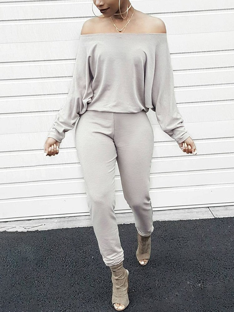 Fashion Solid Off Shoulder Shirring Waist Jumpsuit - DadHats2ow6ix