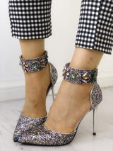 Sequins Embellished Multi-way Pointed Toe Thin Heels - DadHats2ow6ix