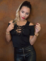 Sexy Cold Shoulder Lace-up Slinky Basic Top - DadHats2ow6ix