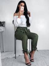 Fashion Belted Ankle Tie High Waist Pants - DadHats2ow6ix