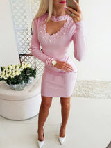 Beaded Detail Long Sleeve Bodycon Dress - DadHats2ow6ix