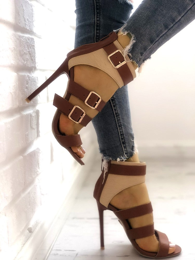 Contrast Color Ladder Buckle Stiletto Heels - DadHats2ow6ix