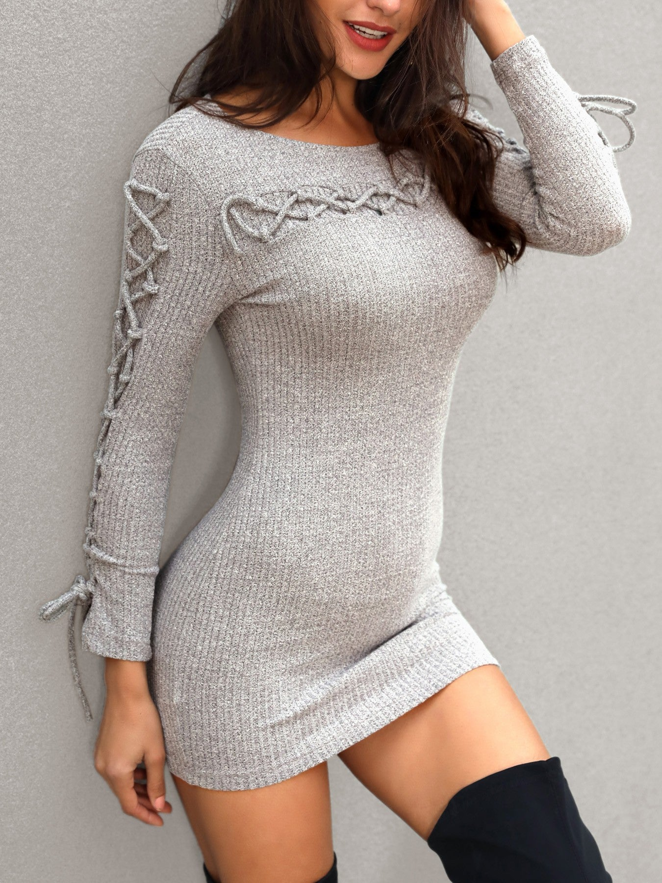 Lace Up Long Sleeve Sweater Dress - DadHats2ow6ix