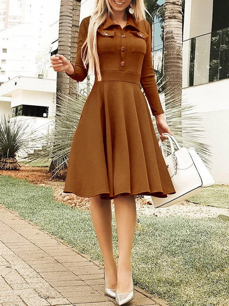 Solid Button Design Pleated Casual Dress - DadHats2ow6ix