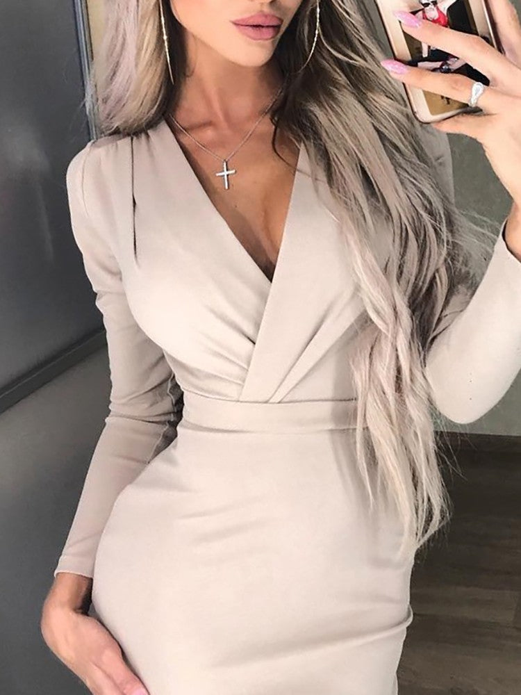 Ruched Wrapped Long Sleeve Bodycon Dress - DadHats2ow6ix