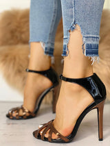 Cage Hollow Out Ankle Strap Thin Heeled Sandal - DadHats2ow6ix