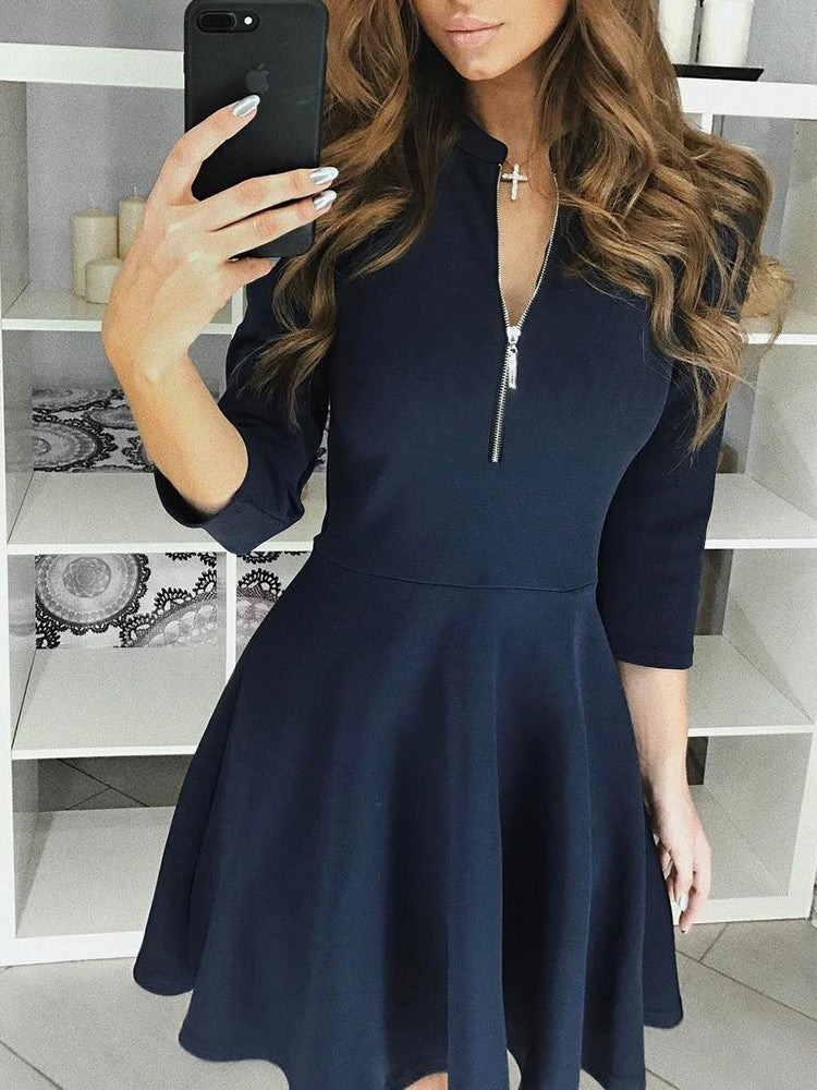 Zipper 3/4 Sleeves Casual Pleated Dress - DadHats2ow6ix