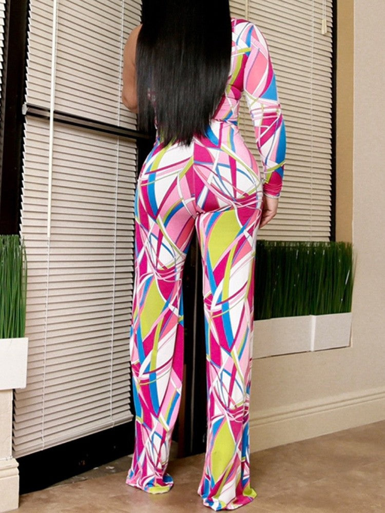 One Shoulder Colorful Print Jumpsuit - DadHats2ow6ix