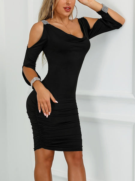 Gem-Studded Cold Shoulder Ruched Bodycon Dress - DadHats2ow6ix
