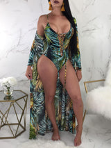 2PCs Lace-up Print One-piece Swimwear Cover Ups - DadHats2ow6ix