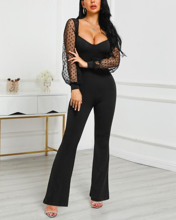 Dots Mesh Sleeve Low Cut Jumpsuit - DadHats2ow6ix