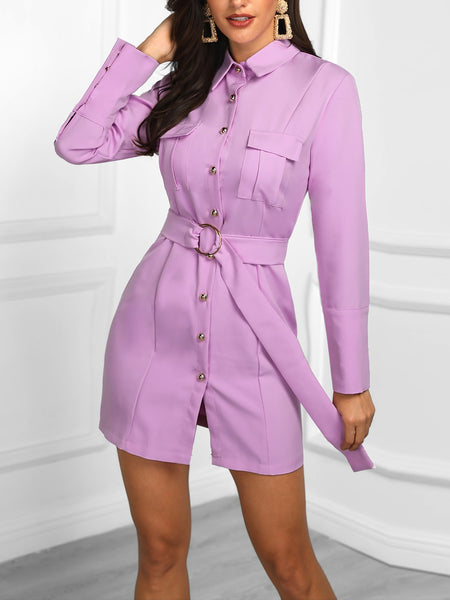 Long Sleeve Button Detail Belted Dress - DadHats2ow6ix