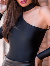 Halter Cut Out Long Sleeve Bodysuit - DadHats2ow6ix