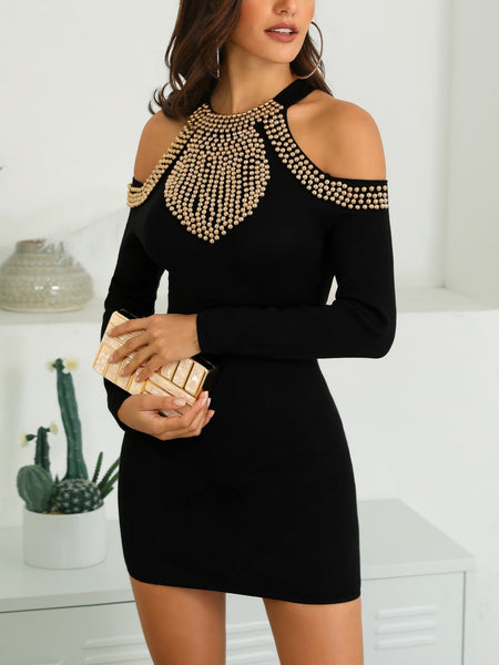 Studded Cold Shoulder Bodycon Dress - DadHats2ow6ix