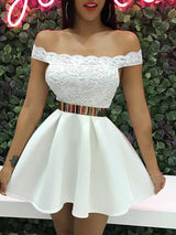 Off Shoulder Lace Splicing Pleated Dress - DadHats2ow6ix