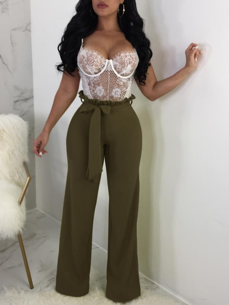Solid Frills Belted Wide Leg Pants - DadHats2ow6ix