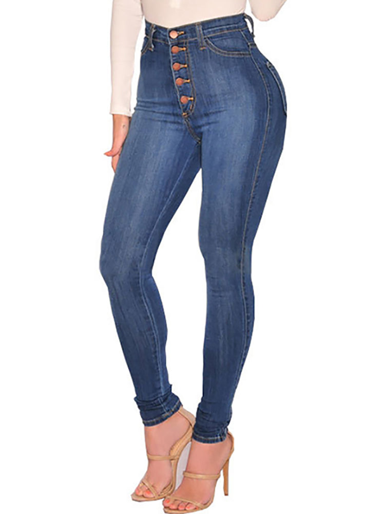 Fashion Button Design High Waist Skinny Jeans - DadHats2ow6ix