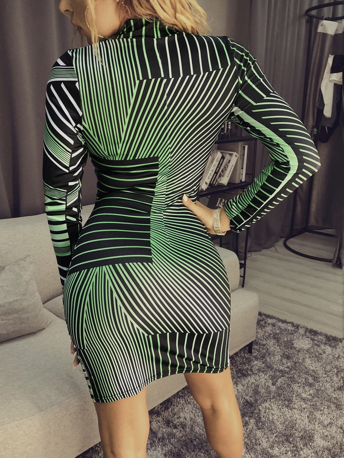 Contrast Stripes Long Sleeve Bodycon Dress - DadHats2ow6ix