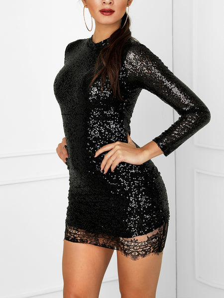 Eyelash Lace Hem Sequin Party Dress - DadHats2ow6ix