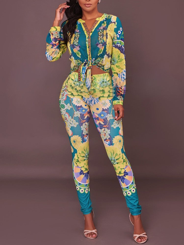 Sexy V Neck Print Skinny Pantsuit - DadHats2ow6ix