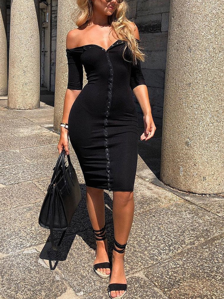 Solid Off Shoulder Button Embellished Bodycon Dress - DadHats2ow6ix