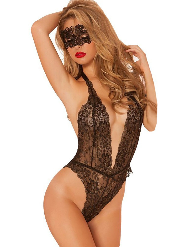 Low Cut Lace Teddy & Eyemask - DadHats2ow6ix