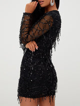 Long Sleeve Mesh Splicing Tassel Sequins Dress - DadHats2ow6ix