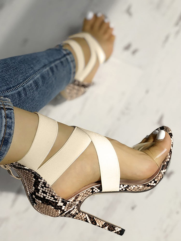 Transparent Crisscross Bandage Thin Heeled Sandals - DadHats2ow6ix