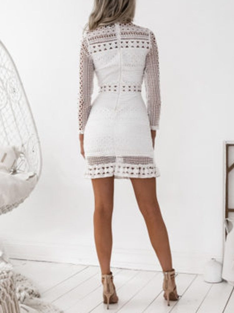 Elegant Crochet Lace Hollow Out Sheath Dress - DadHats2ow6ix