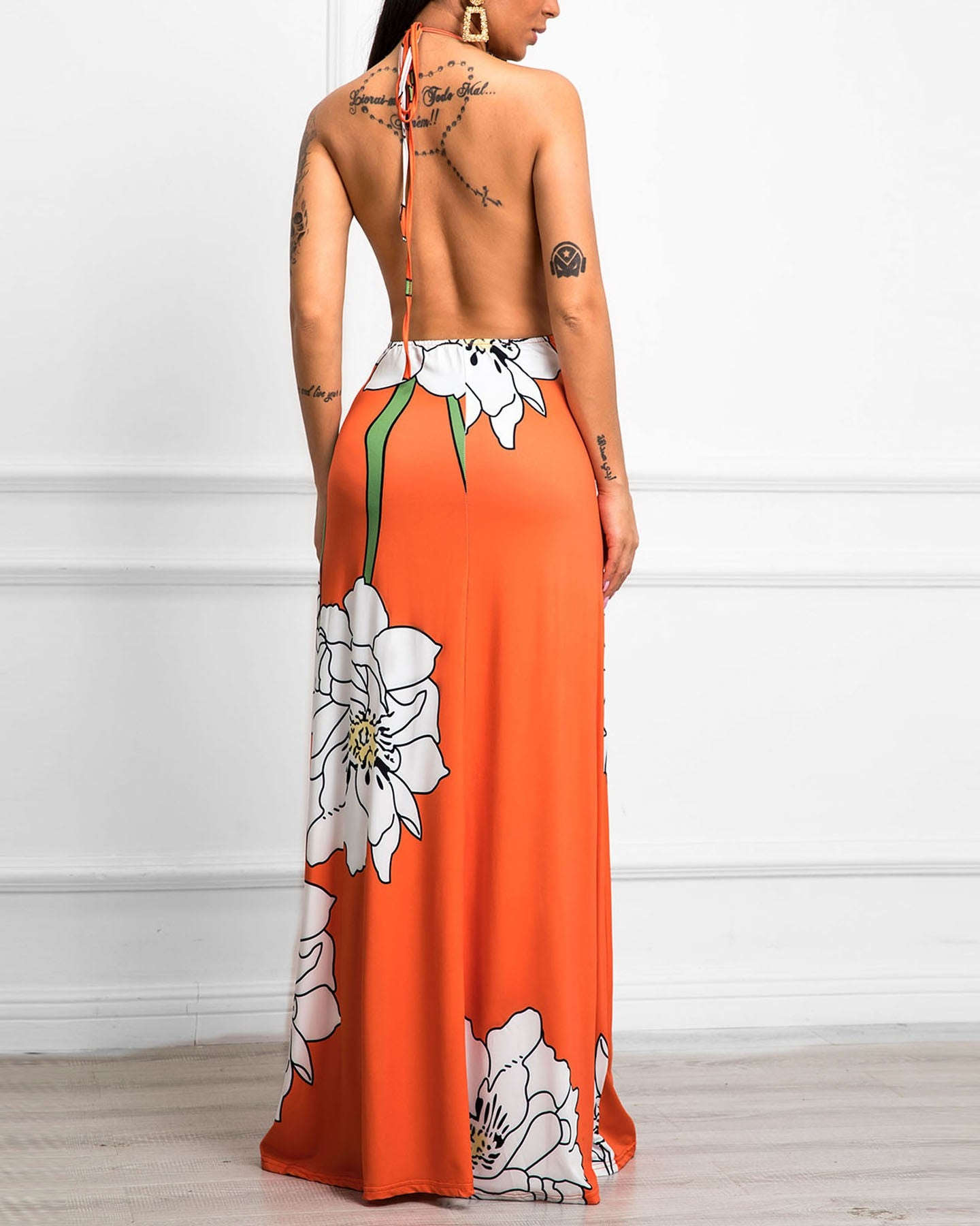 Floral Print Open Back Halter Maxi Dress - DadHats2ow6ix