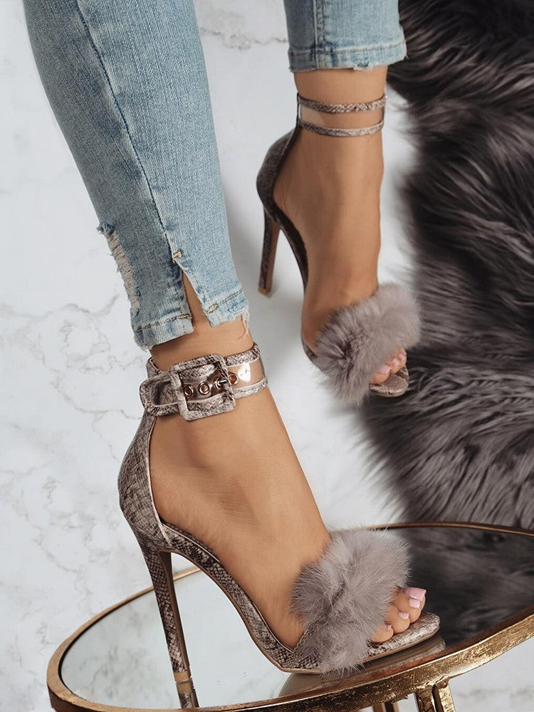 Sexy Faux Fur Anklet Buckles Heeled Sandals - DadHats2ow6ix
