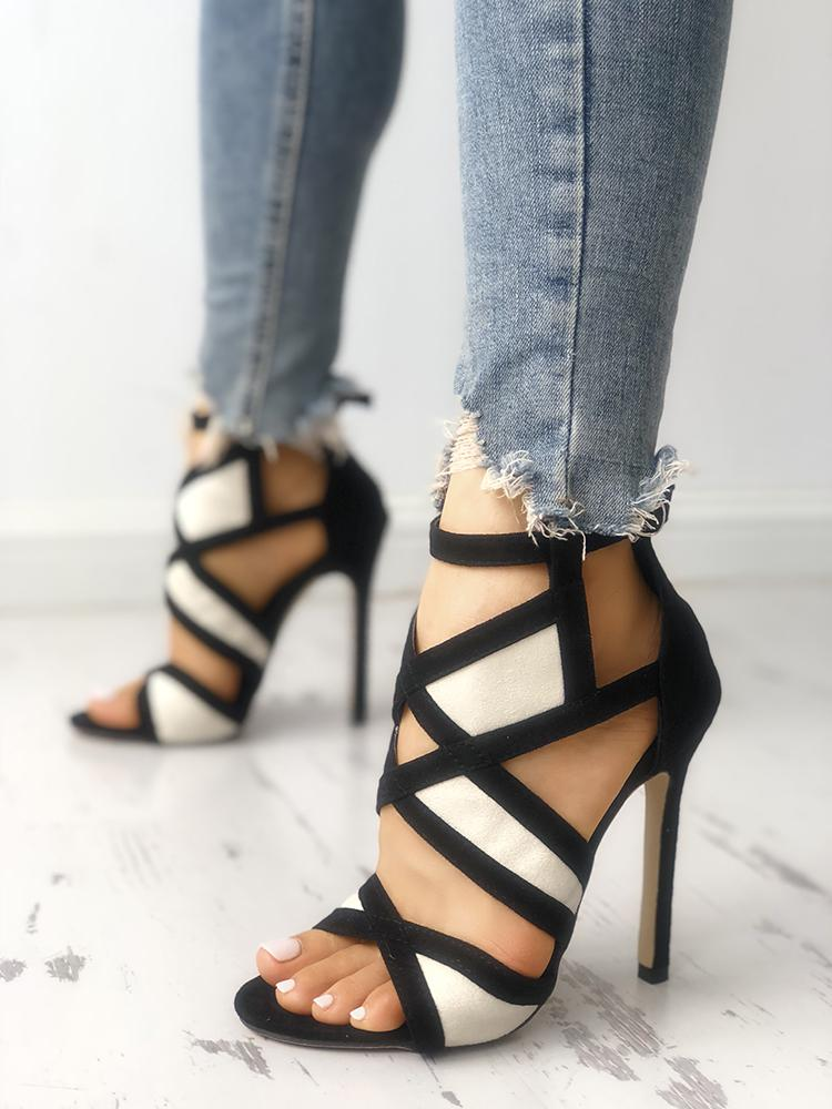 Contrast Color Caged Bandage Heeled Sandals - DadHats2ow6ix