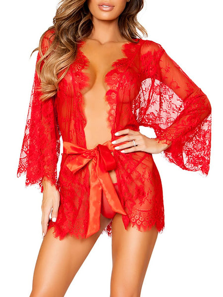 Seductive Lace Mesh Belted Robe Lingerie - DadHats2ow6ix