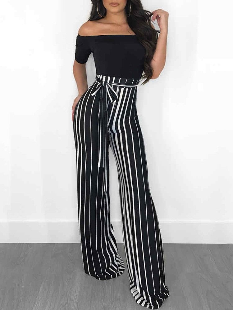 Off Shoulder Striped Splicing Tied Waist Jumpsuit - DadHats2ow6ix
