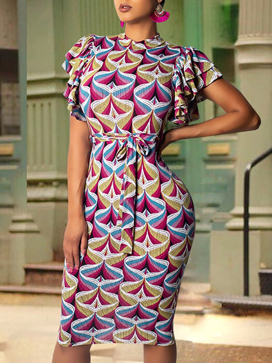 Abstract Geo Print Flutter Sleeve Midi Dress - DadHats2ow6ix