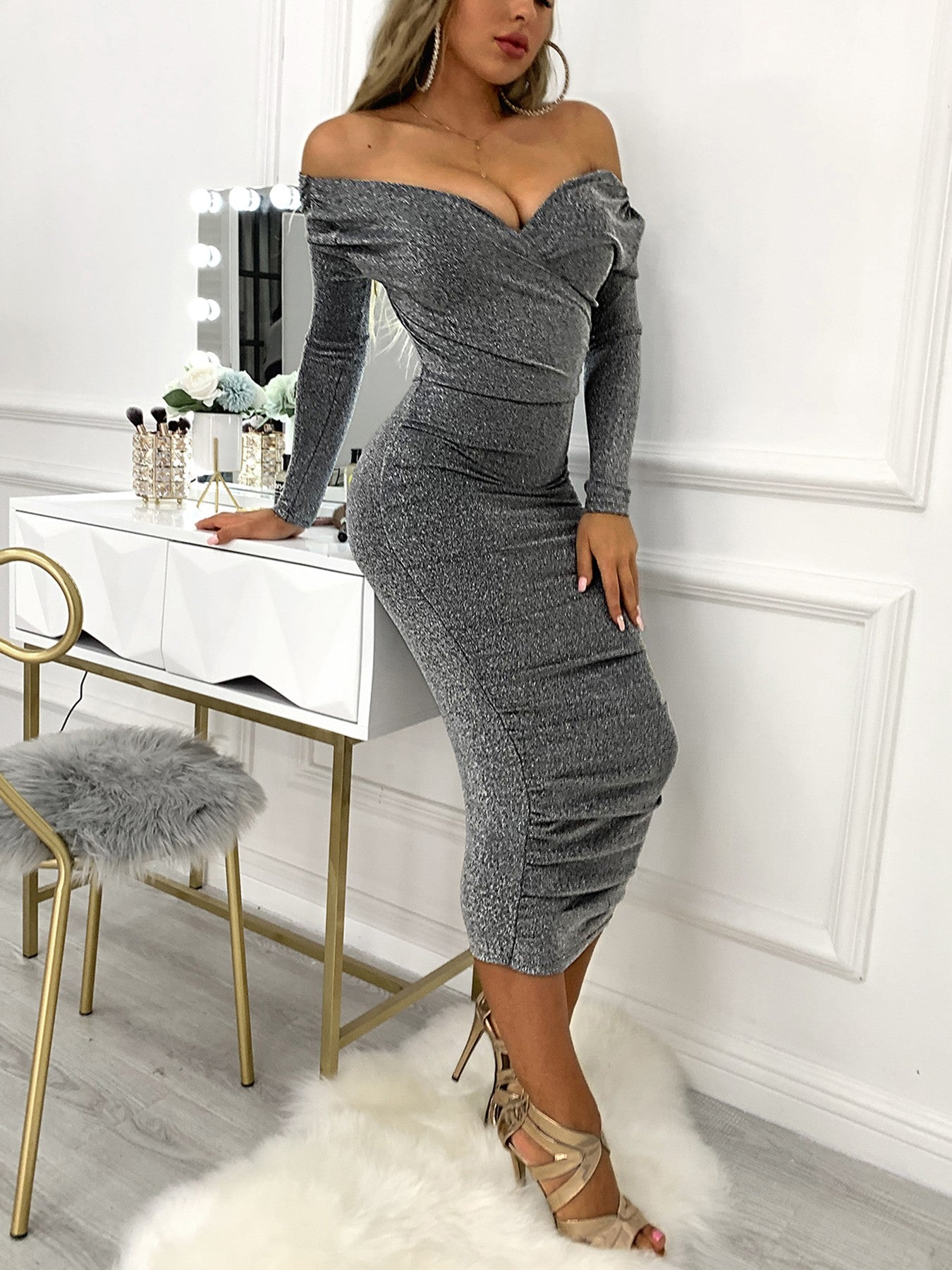 Glitter V-Neck Wrap Ruched Design Dress - DadHats2ow6ix
