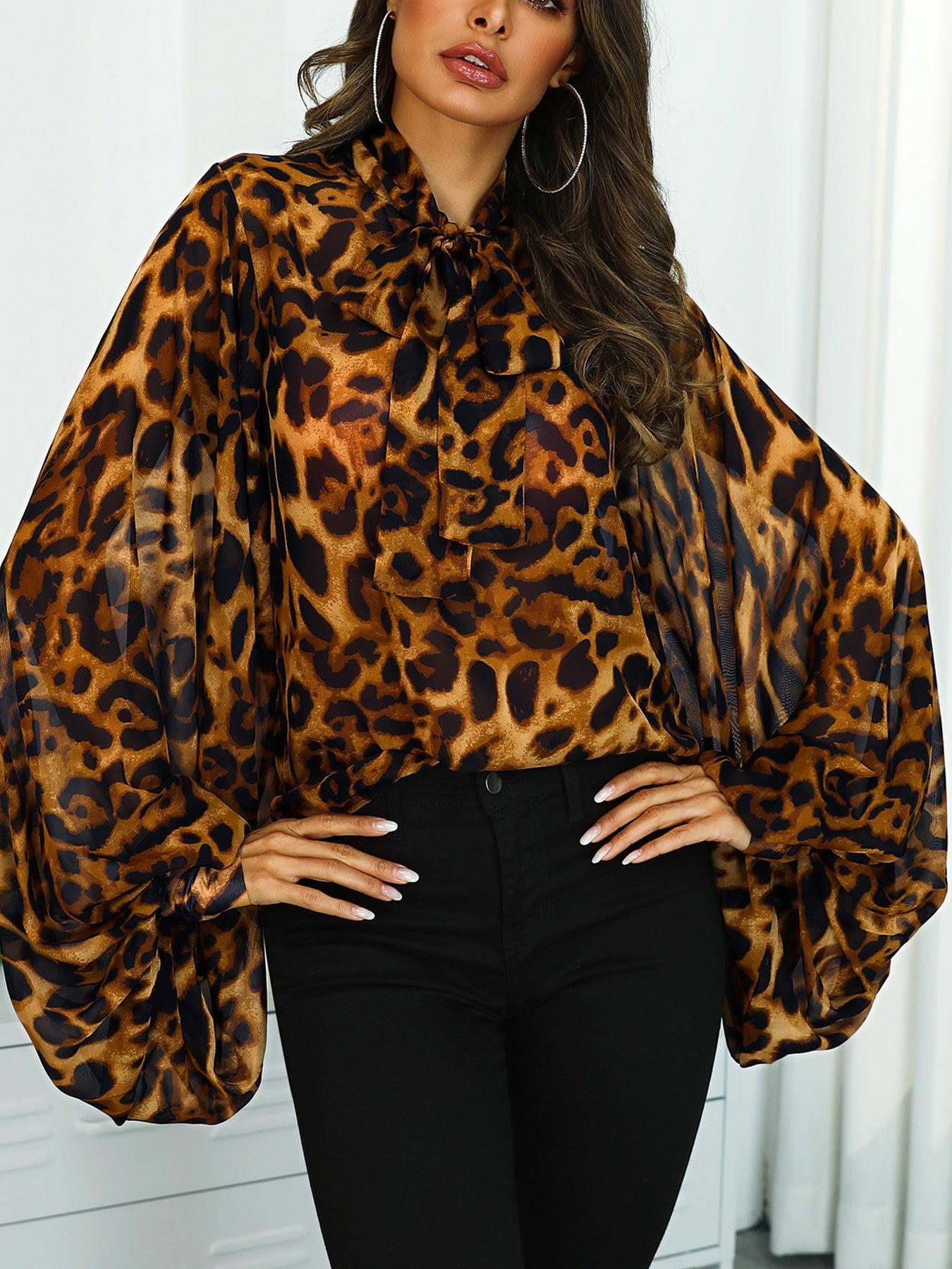 Leopard Print Tied Neck Lantern Sleeve Blouse - DadHats2ow6ix
