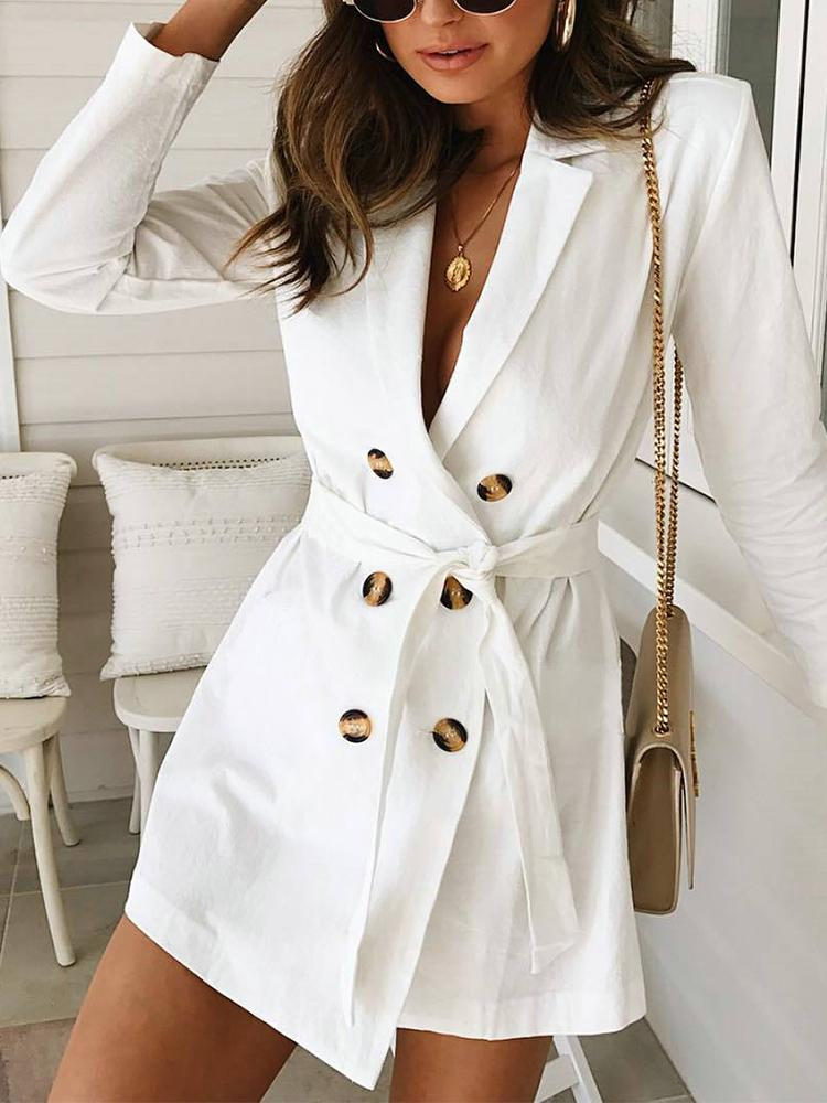 Solid Double Breasted Belted Blazer Dress - DadHats2ow6ix