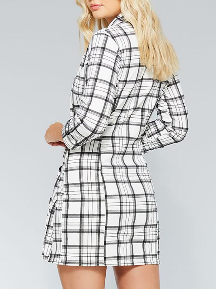 Plunge Grid Double Breasted Blazer Dress - DadHats2ow6ix
